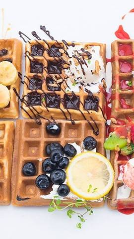 Waffle with different toppings