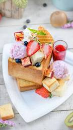 Strawberry Honey Toast seen from above